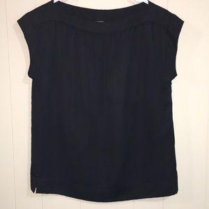 Talbots Cap Sleeve Black Blouse Size 6P